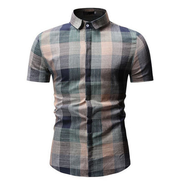 Casual Plaid Casual Button Down Short Sleeve Shirts
