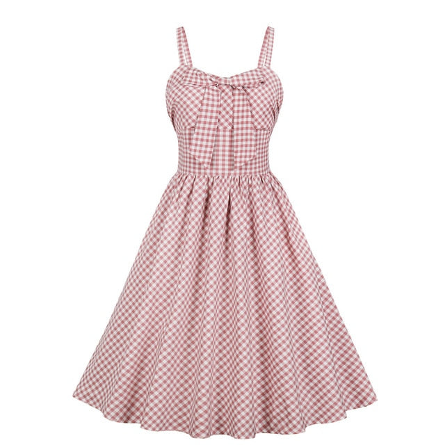 Elegant Style Pink Plaid Print  Retro Vintage Dress