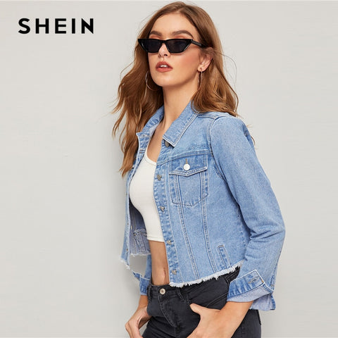 Blue Frayed Edge Flap Pocket Denim Jacket