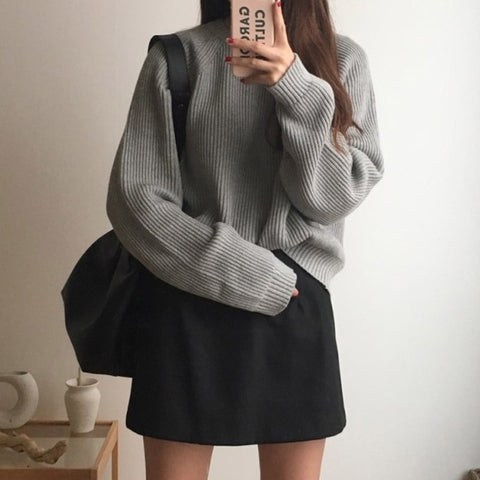 Full Sleeve Knitting Solid O Neck Loose Sweater