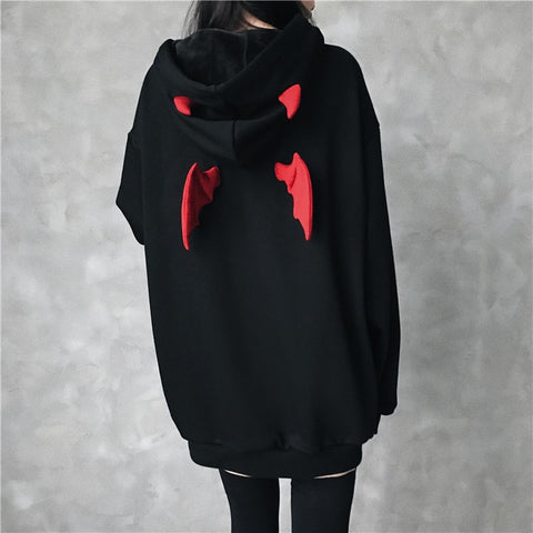 Cute Punk Gothic Girls Devil Horn Chic Loose Hoodie