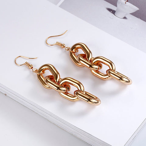 Punk Style Thick Link Chain Dangle Earrings