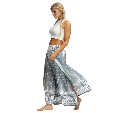 High Split Wide Leg Peacock Feather Printed Boho Bohemian Pants