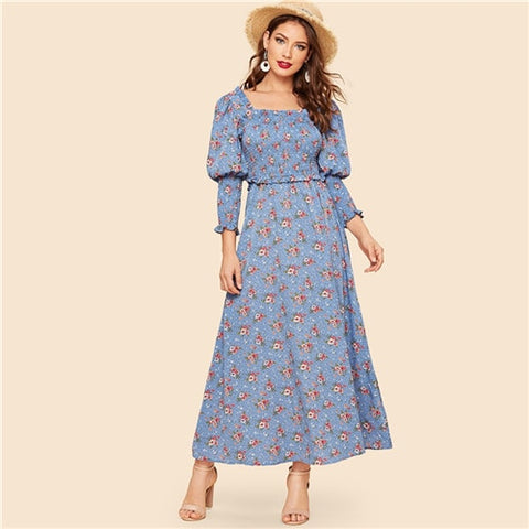 Blue Square Neck Ditsy Floral Print Smocked Sleeve Shirred Vintage Dresses
