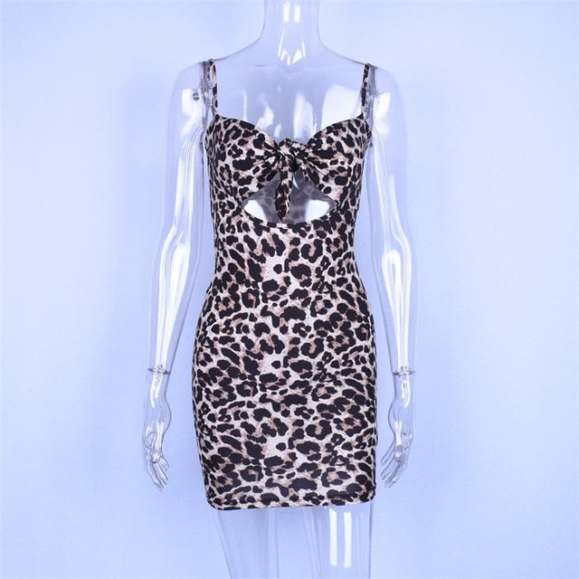 spaghetti straps print hollow out high waist sexy mini leopard dress