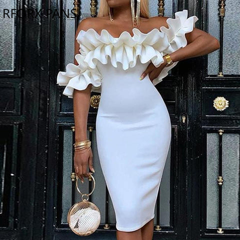 Ruched Design Bodycon Off Shoulder Dress