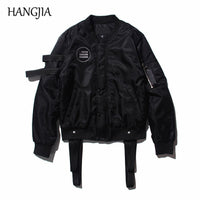 Black Strap Detachable Ribbons Baseball Jacket
