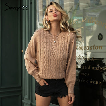 Twisted o-neck knitted pullover sweater
