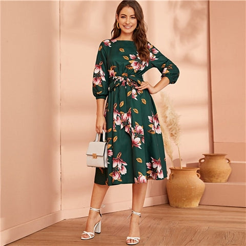 Green Elastic Waist Belted Bishop Sleeve Flared Elegant Floral Dresses