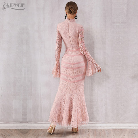Sexy Pink Black Lace Long Sleeve Mermaid Maxi Dresses