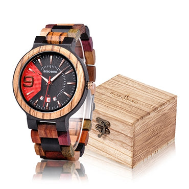 Timepiece Auto Date Colorful Band Military Wood Watches