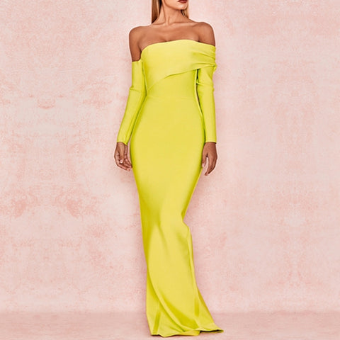 Sexy Bandage Long Sleeve Yellow Green Off Shoulder Maxi Dresses
