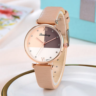 Three Color Flat Dial Belt Leather Strap Wrist Watches