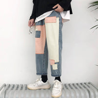Wide Leg Patch Baggy Casual Cargo Pocket Jeans