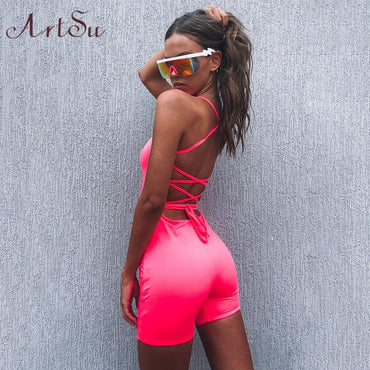 Sexy Open Back Neon Green Orange Rompers