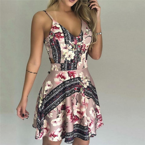 sexy Sleeveless Sling Vintage Flared A Line Floral Dresses