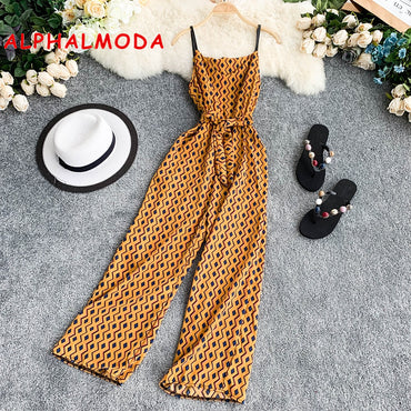 Geometric Design Seaside Chiffon Printed V-collar Sleeveless Sash Tie Wide Jumpsuits