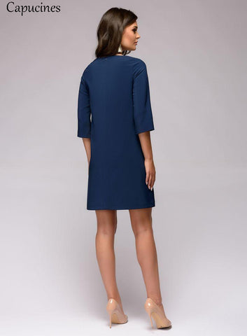 O Neck Three Quarter Sleeves Casual Casual Dresses
