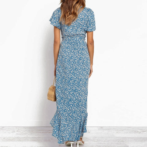 Long Casual Boho Floral Print Chiffon Sexy V Neck Ruffles High Slit Wrap Dress