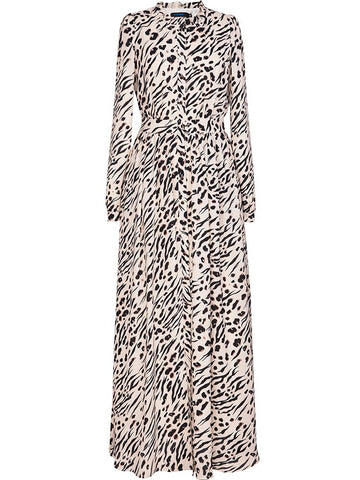 Ruffled Collar Sexy Wild Long Sleeve Leopard Dresses
