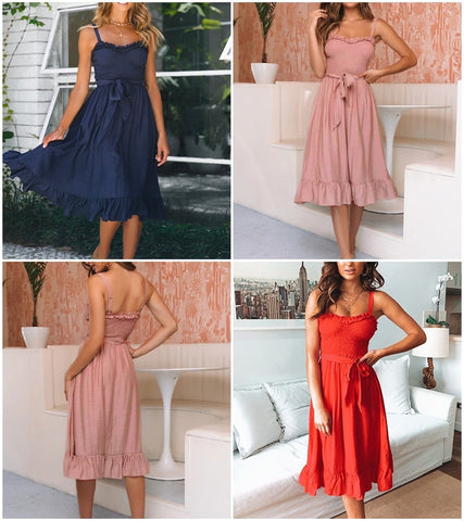 Elegant ruffle pleated cotton pink Spaghetti strap Midi Dresses