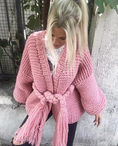 Knitted Loose Tassels Bandage Chic Cotton Loose Thick Boho Bohemian Sweaters