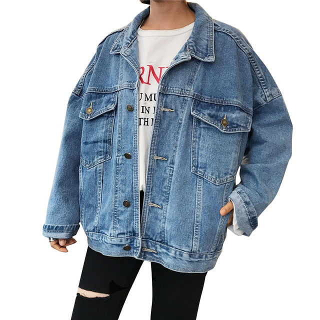 Loose  Casual Retro Solid Turn down Collar Denim Jacket