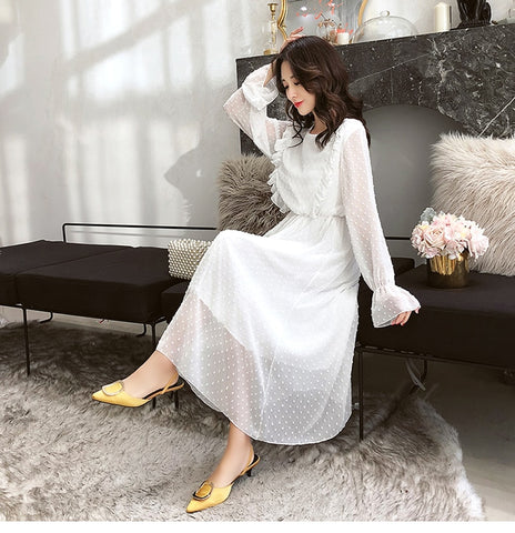 Ruffles Polka Dot Chiffon Elastic Waist Flare Sleeve Long A line White Dress