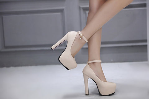 Mary Jane Party Ankle Strap Pumps Platform Thick Heels