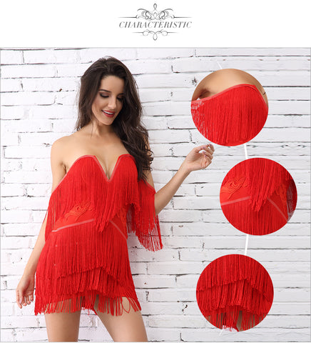 Tassel Bandage Elegant V Neck Off Shoulder Sexy Dresses