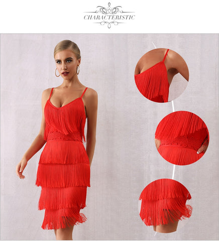 V Neck Tassels Fringe Red Sexy Dresses