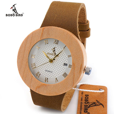Natural Maple Leather Strap Wood Watches