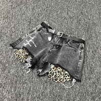 wide leg hole loose leopard Short Denim