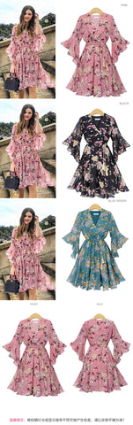 Chiffon High Elastic Waist Bow A line Butterfly Sleeve Flower Print Floral Dress