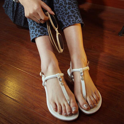 Real Leather Black White Gold Buckle Fashion Sandals