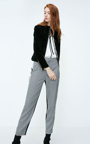 Splice Front Zip Plaid Stretch Pants