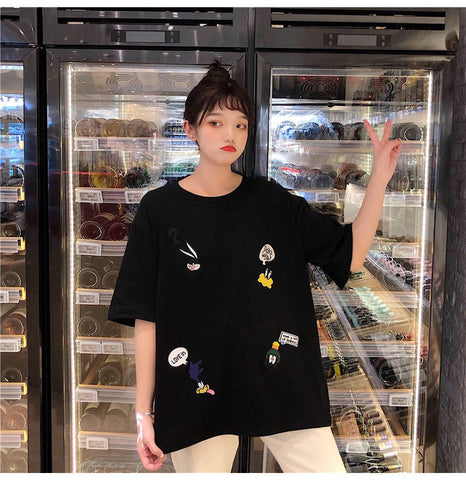 O Neck Short Sleeve Cute Cartoon T-Shirt