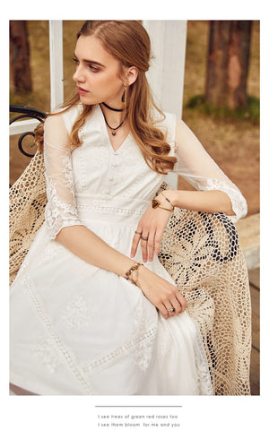 Vintage Lace Embroidered Floral High Waist V neck Lady White Dresses