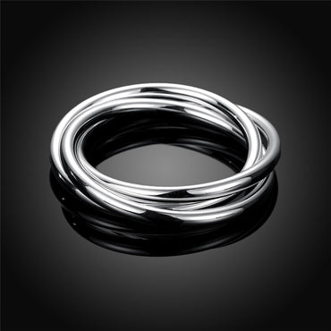 Silver Color Three Lines Bracelet Bangles