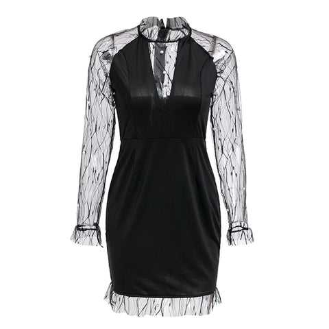 Black Pearl Beading Vine Mesh Panel Ruffle Round Neck Long Sleeve Sexy Dress