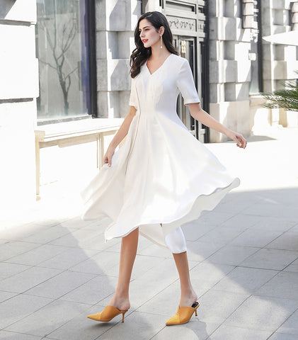 Silk Swing V Neck Half Sleeve White Dresses
