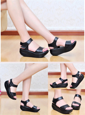Ankle Platform Solid Wedges Leisure Height Increase Swing Sandals