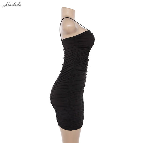 Sexy Spaghetti Strap Sheath Mini Black Dress