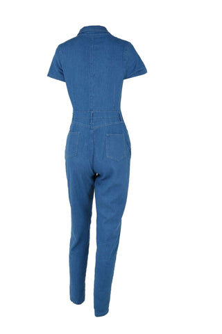 Elegant Style Short Sleeve overalls Denim Jumpsuit