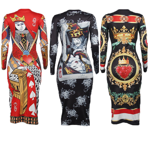Long Sleeve O neck Poker Playing Cards Vintage Chain Print Dresses
