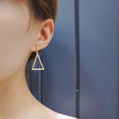 Geometric Triangle Asymmetric Earrings