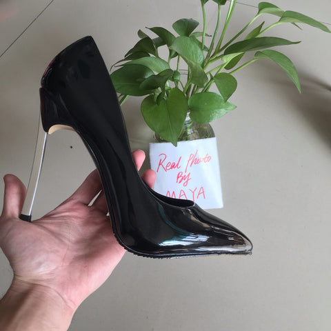 Sexy black patent high heels