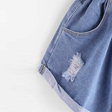 High Waist Denim Flower Casual Denim Boho Bohemian Shorts
