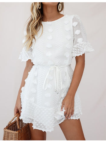 O Neck Short Flare Sleeve Casual Dresses