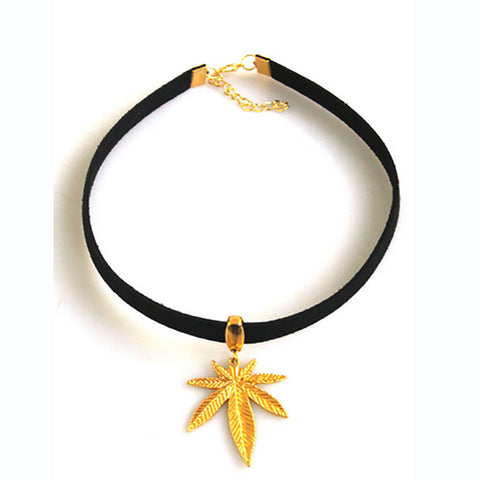 Black Flat Faux Suede Leather Pot Gold Weed Leaf Choker Necklace